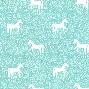 John Louden  - Unicorn Frolic on Mint, per fat quarter