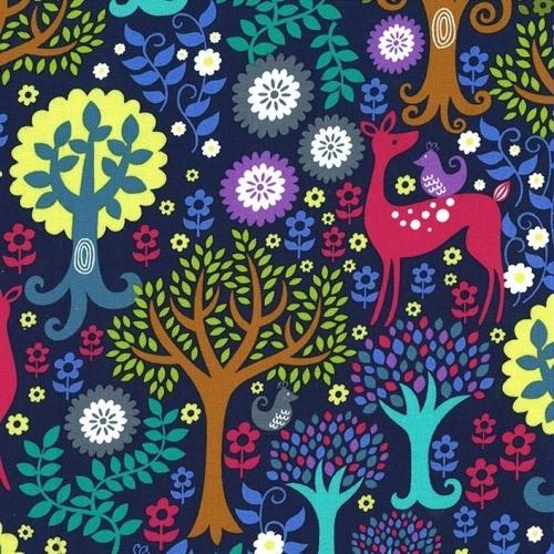 <!--5300-->Michael Miller Fabrics - Fantasy Woods in Jewel, per fat quarter