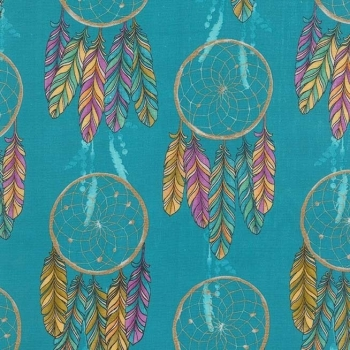Michael Miller Fabrics - Catching Dreams - Dream On in Turquoise, per fat quarter