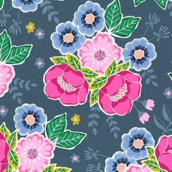 Michael Miller Fabrics - Flower Shop - It Can Be Arranged in Periwinkle, per fat quarter