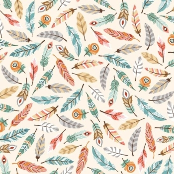 Studio E - Camp Along Critters - Feathers in Cream, per fat quarter