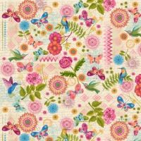 <!--5352-->Studio E - Dancing Wings - Butterfly Patchwork on Cream, per fat quarter