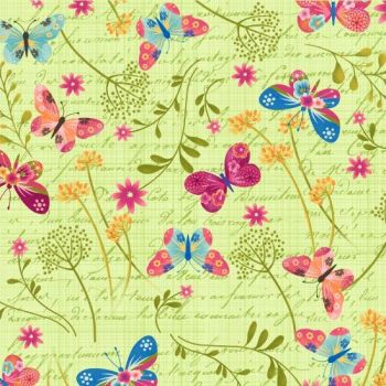 Studio E - Dancing Wings - Tossed Butterflies on Mint, per fat quarter