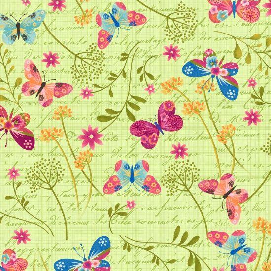 <!--5352-->Studio E - Dancing Wings - Tossed Butterflies on Mint, per fat q