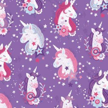 Studio E - Unicorn Kisses - Unicorn Heads in Purple, per fat quarter
