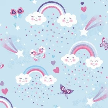 Studio E - Unicorn Kisses - Rainbows and Clouds on Sky Blue, per fat quarter