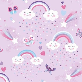 Studio E - Unicorn Kisses - Rainbows and Clouds on Lilac, per fat quarter