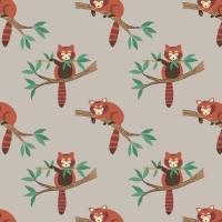 <!--4130-->Lewis &amp; Irene - Minshan - Red Pandas On Light Grey, per fat quarter