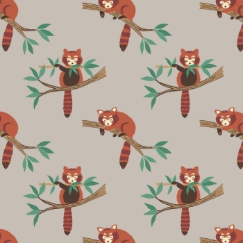 Lewis & Irene - Minshan - Red Pandas On Light Grey, per fat quarter  ***WAS £2.75***