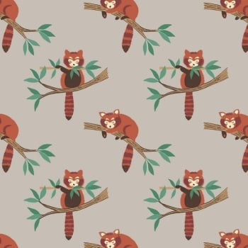 Lewis & Irene - Minshan - Red Pandas On Light Grey, per fat quarter