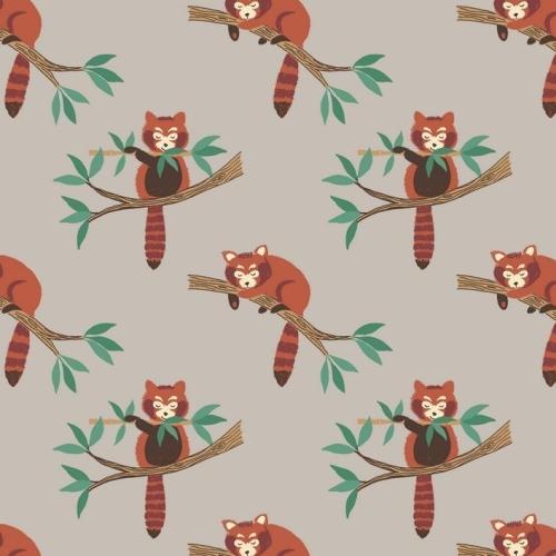 <!--4130-->Lewis & Irene - Minshan - Red Pandas On Light Grey, per fat quar