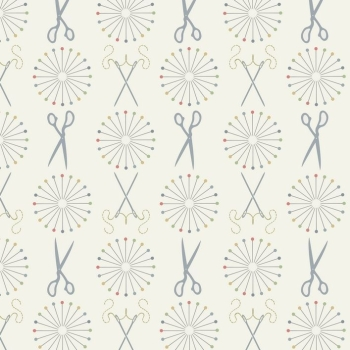 Lewis & Irene - Threaded With Love Pins & Needles on Cream, per fat quarter **WAS £2.75**
