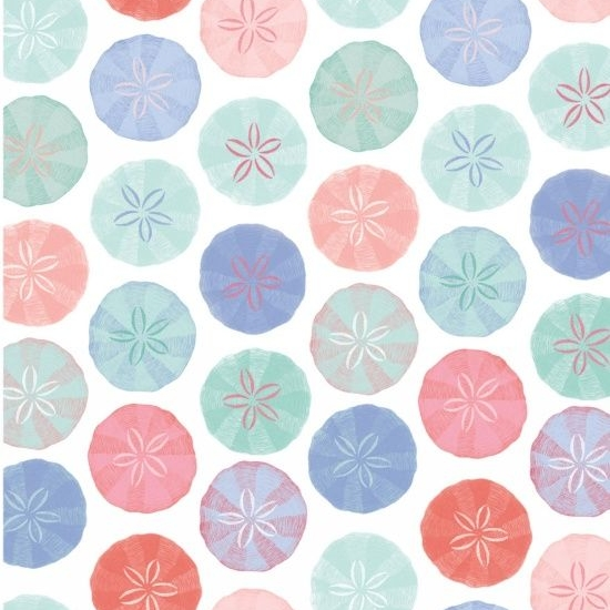 <!--5357-->Studio E - Mermaid Dreams - Sand Dollars on White, per fat quart