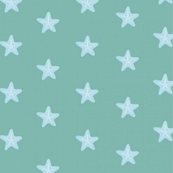 Studio E - Mermaid Dreams - Starfish on Green, per fat quarter