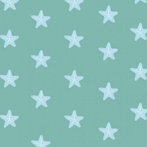 <!--5359-->Studio E - Mermaid Dreams - Starfish on Green, per fat quarter *