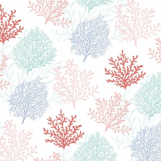 <!--5360-->Studio E - Mermaid Dreams - Coral on White, per fat quarter **US
