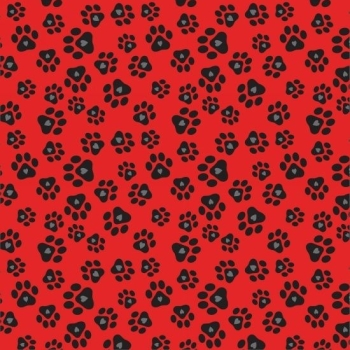 Studio E - Must Love Dogs - Paw Prints With Hearts on Red, per fat quarter **USUALLY £3.00**