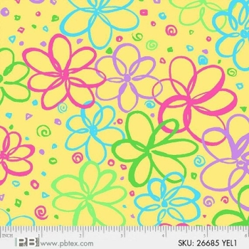 P&B Textiles - Bloom - Squiggle Floral on Yellow, per fat quarter **USUALLY £3.00**