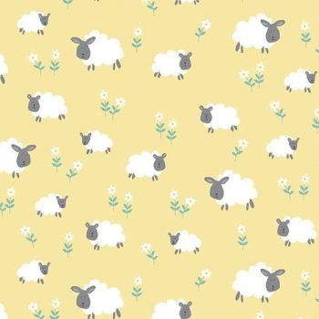 Makower UK - Counting Sheep Sheep on Yellow, per fat quarter