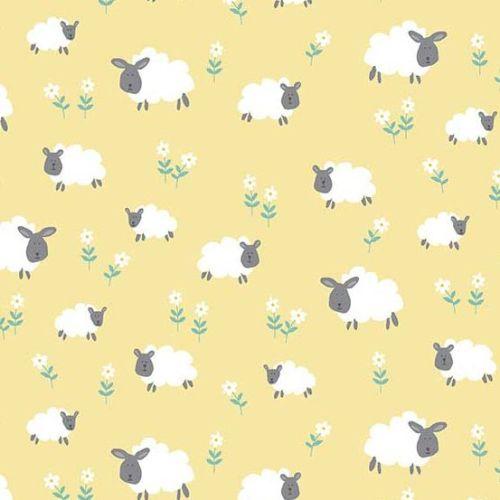 <!--3257-->Makower UK - Counting Sheep Sheep on Yellow, per fat quarter