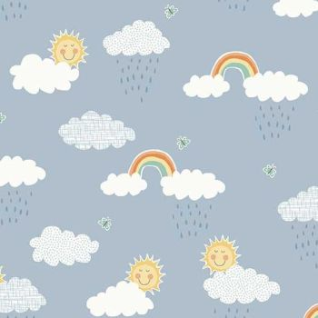 Makower UK - Counting Sheep Clouds on Blue, per fat quarter