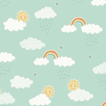 Makower UK - Counting Sheep Clouds on Turquoise, per fat quarter