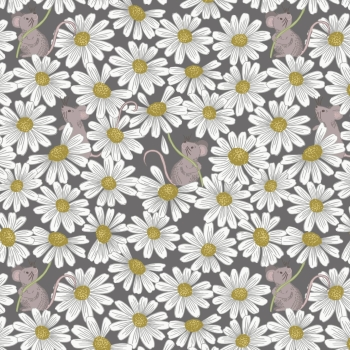 Lewis & Irene - Love Me Love Me Not Little Mouse & Daisies on Charcoal, per fat quarter