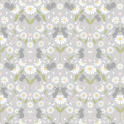 <!--4234-->Lewis & Irene - Love Me Love Me Not Mirrored Mice on Light Grey,