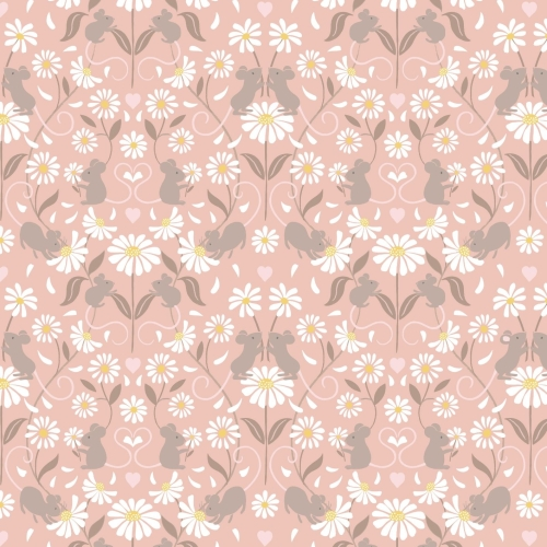 <!--4235-->Lewis & Irene - Love Me Love Me Not Mirrored Mice on Light Pink,