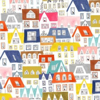 Windham Fabrics - Paint The Town - House On White, per fat quarter