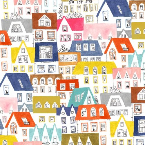 <!--5510-->Windham Fabrics - Paint The Town - House On White, per fat quart