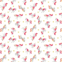 <!--4237-->Lewis &amp; Irene - Small Things Magical Unicorns on Cream (With gold metallic detailing), per fat quarter
