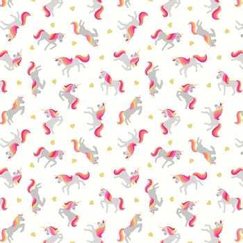 Lewis & Irene - Small Things Magical Unicorns on Cream (With gold metallic detailing), per fat quarter