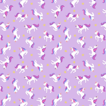 Lewis & Irene - Small Things Magical Unicorns on Lavender (With gold metallic detailing), per fat quarter