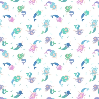 Lewis & Irene - Small Things Magical Mermaids on Cream (With blue metallic detailing), per fat quarter