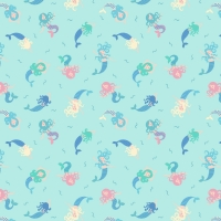 <!--4241-->Lewis &amp; Irene - Small Things Magical Mermaids on Light Blue (With blue metallic detailing), per fat quarter