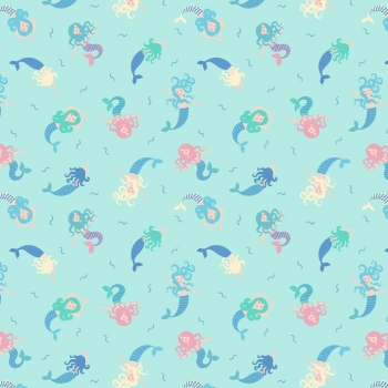 Lewis & Irene - Small Things Magical Mermaids on Light Blue (With blue metallic detailing), per fat quarter
