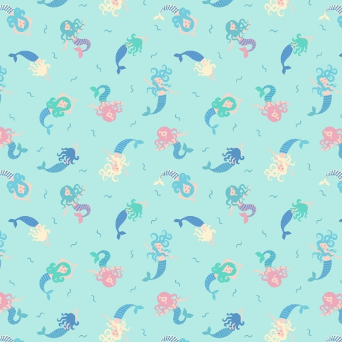 <!--4241-->Lewis & Irene - Small Things Magical Mermaids on Light Blue (Wit