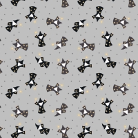 <!--4244-->Lewis &amp; Irene - Small Things Magical Wizards on Grey (With gold metallic detailing), per fat quarter