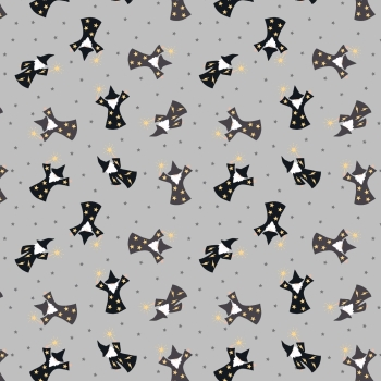 Lewis & Irene - Small Things Magical Wizards on Grey (With gold metallic detailing), per fat quarter