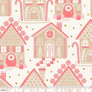 Blend Fabrics - Kringle's Sweet Shop - Gingerbread Lane in Ivory (with gold glitter detailing), per fat quarter
