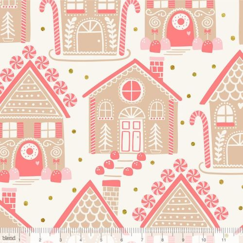 <!--9105-->Blend Fabrics - Kringle's Sweet Shop - Gingerbread Lane in Ivory
