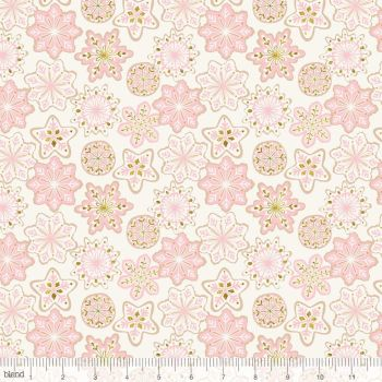 Blend Fabrics - Kringle's Sweet Shop - Frosted Snowflakes in Ivory (with gold glitter detailing), per fat quarter