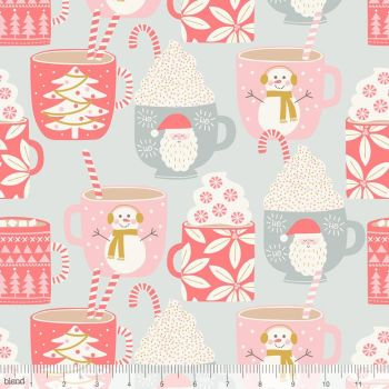 Blend Fabrics - Kringle's Sweet Shop - Cups of Cocoa on Grey, per fat quarter