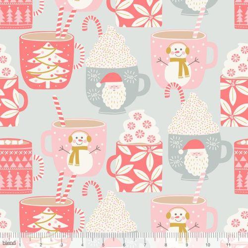 <!--9107-->Blend Fabrics - Kringle's Sweet Shop - Cups of Cocoa on Grey, pe