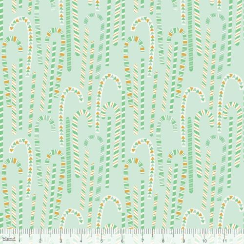<!--9107-->Blend Fabrics - Kringle's Sweet Shop - Candy Cane in Forest Gree