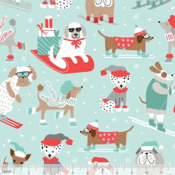 Blend Fabrics - Snowlandia - Winter Furries on Blue, per fat quarter