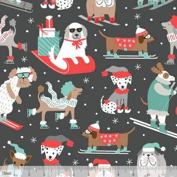 Blend Fabrics - Snowlandia - Winter Furries on Grey, per fat quarter