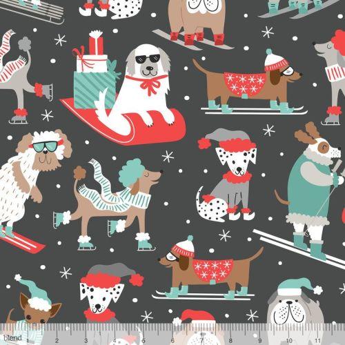 <!--9110-->Blend Fabrics - Snowlandia - Winter Furries on Grey, per fat qua