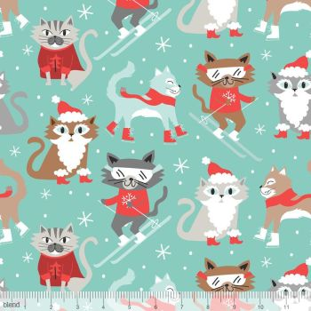 Blend Fabrics - Snowlandia - Kitty Patrol on Blue, per fat quarter